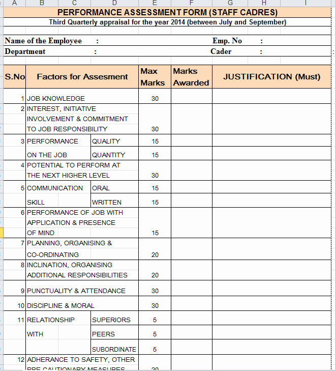 Employee Performance Evaluation form Excel Fresh Quarterly Performance Appraisal form