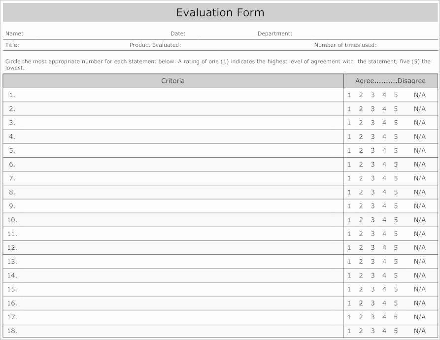 Employee Performance Evaluation form Excel Unique 31 Employee Evaluation form Templates Free Word Excel
