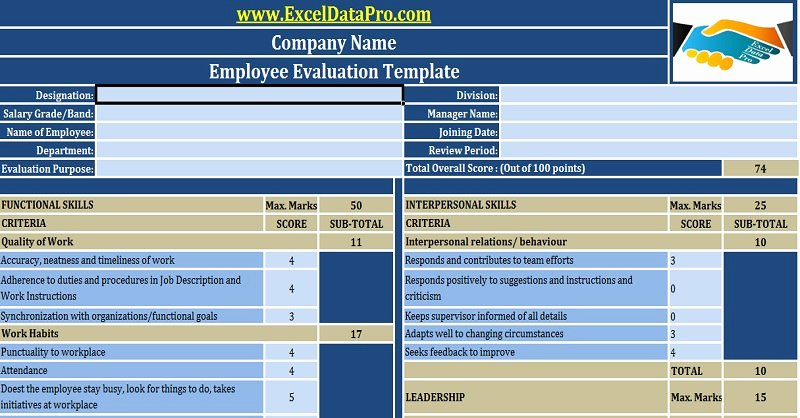 Employee Performance Evaluation form Excel Unique Download Employee Evaluation or Employee Performance