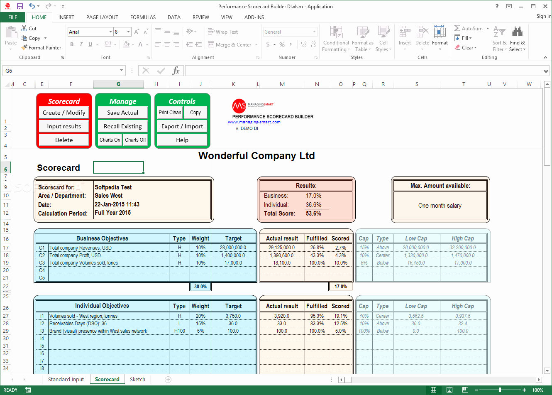 Employee Performance Scorecard Template Excel Awesome Download Performance Scorecard Builder 2 4 1 0
