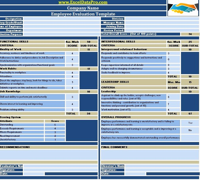 Employee Performance Scorecard Template Excel Fresh Download Employee Evaluation or Employee Performance