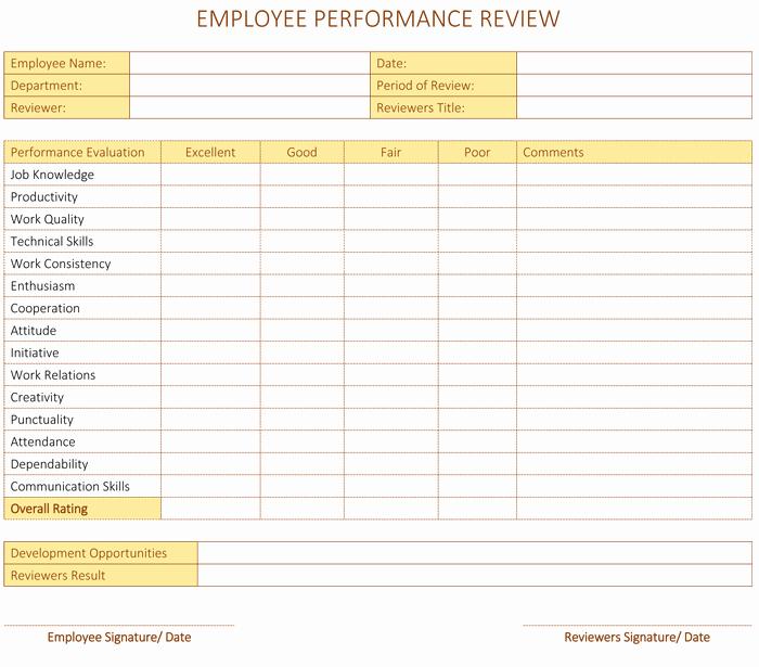 Employee Performance Scorecard Template Excel Fresh Employee Performance Review Template for Word Dotxes