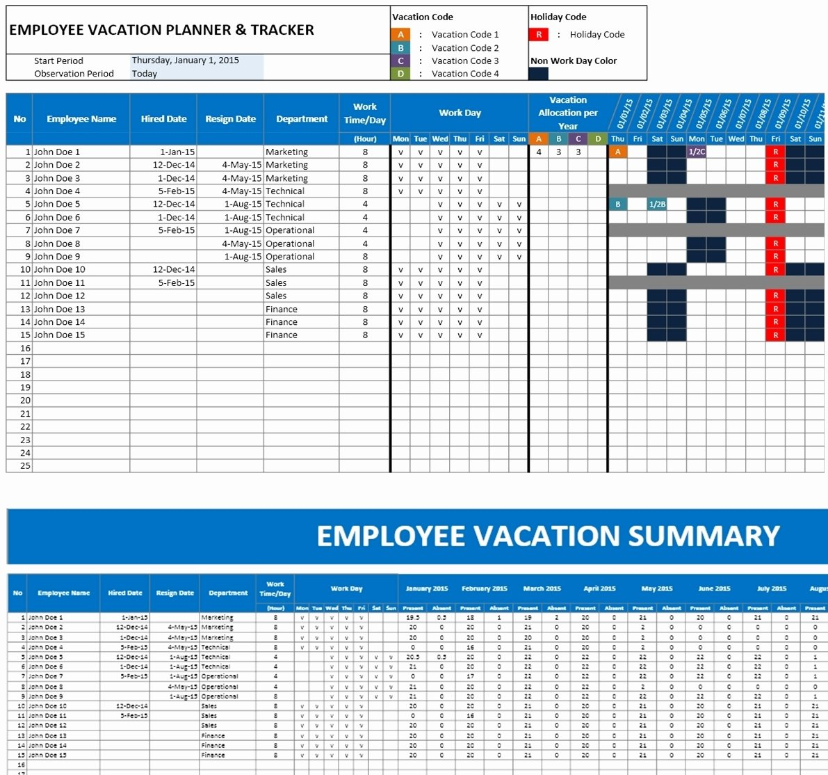 Employee Performance Tracking Template Excel Elegant Employee Vacation Planner Template Excel