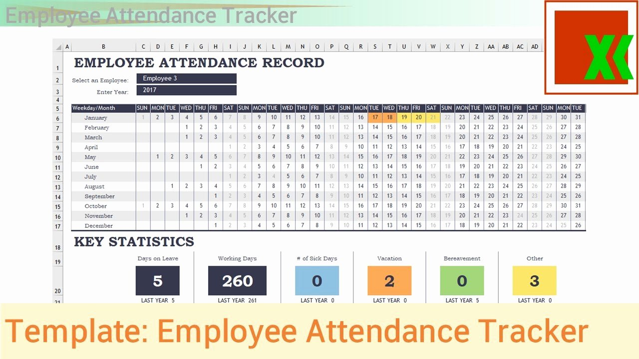 Employee Performance Tracking Template Excel Luxury Excel Template Employee attendance Tracker