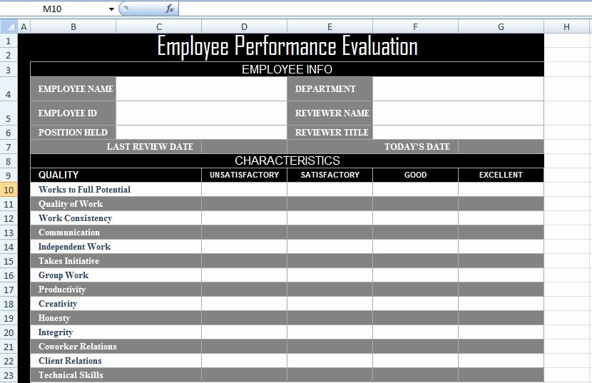 Employee Performance Tracking Template Excel Unique Employee Performance Evaluation form Xls Free Excel