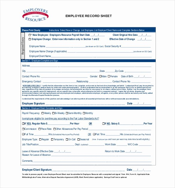Employee Personnel File Template Best Of Employee Record Templates 26 Free Word Pdf Documents