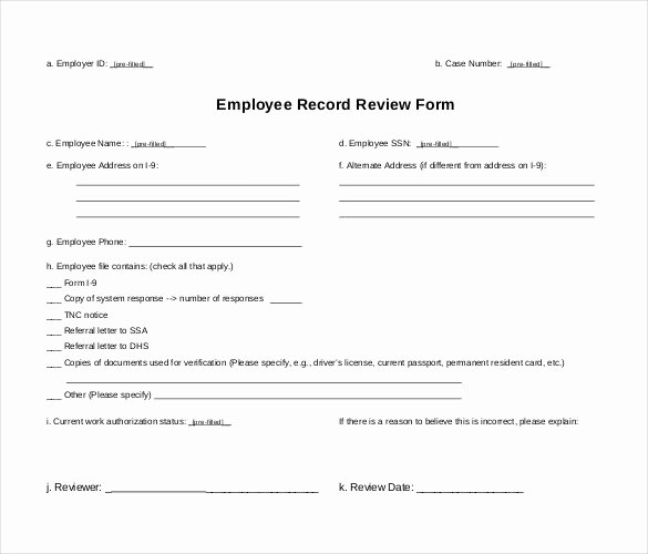 Employee Personnel File Template Elegant Employee Record Templates 26 Free Word Pdf Documents