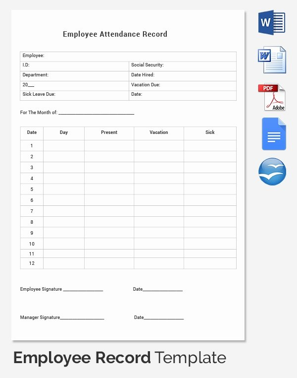 Employee Personnel File Template Elegant Employee Record Templates 32 Free Word Pdf Documents