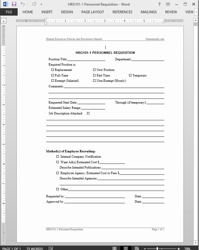 Employee Personnel File Template Elegant Personnel Requisition Template