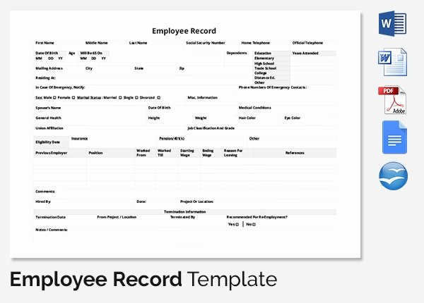 Employee Personnel File Template Inspirational Employee Record Templates 32 Free Word Pdf Documents