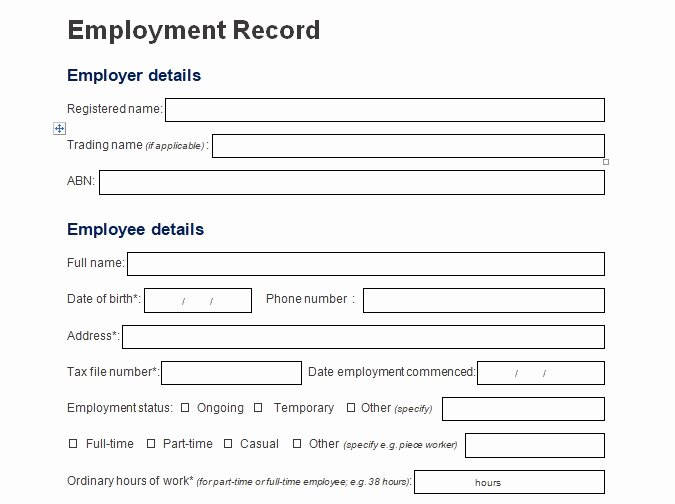 Employee Personnel File Template New Record Of Employee Information form format Word and Excel