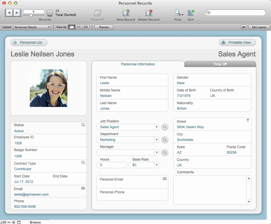 Employee Personnel File Template Unique the Mac Fice Personnel Records Filemaker Pro 12