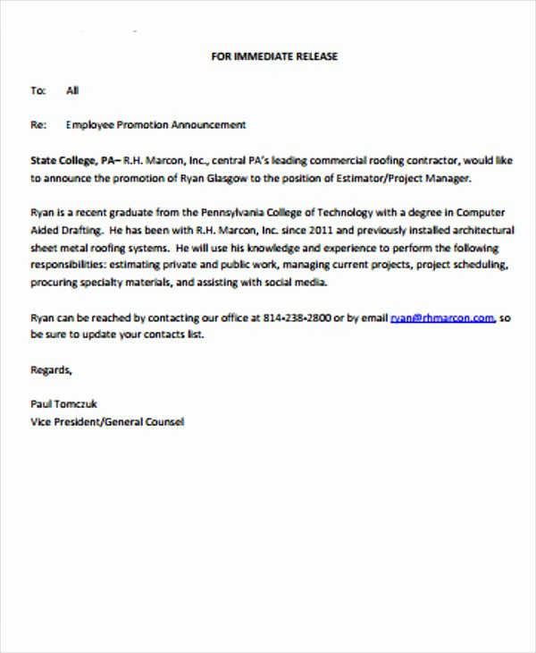 Employee Promotion Announcement Email Sample Awesome 2 Promotion Announcement Templates Pdf