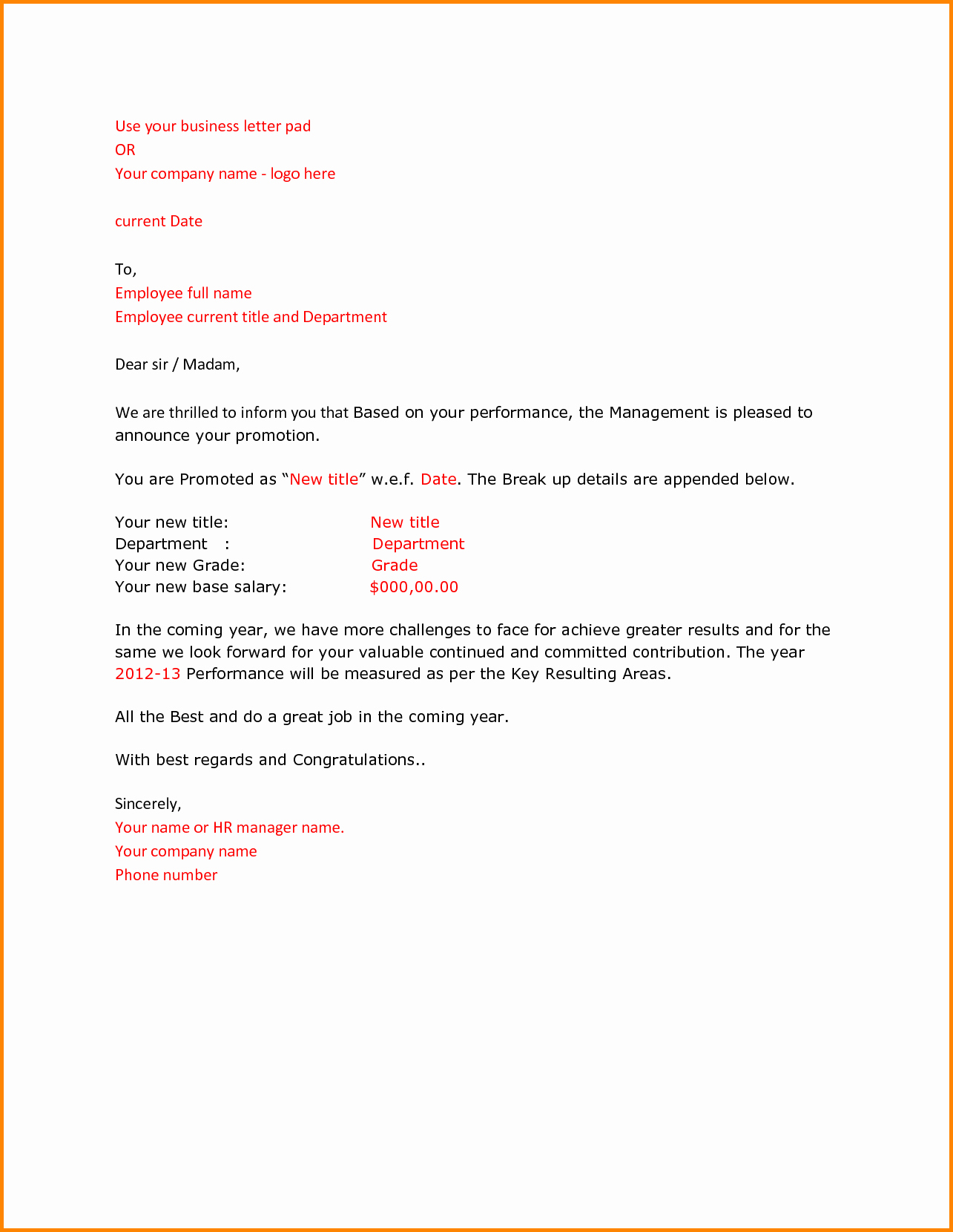 Employee Promotion Announcement Email Sample Best Of 8 Promotion Letter Template