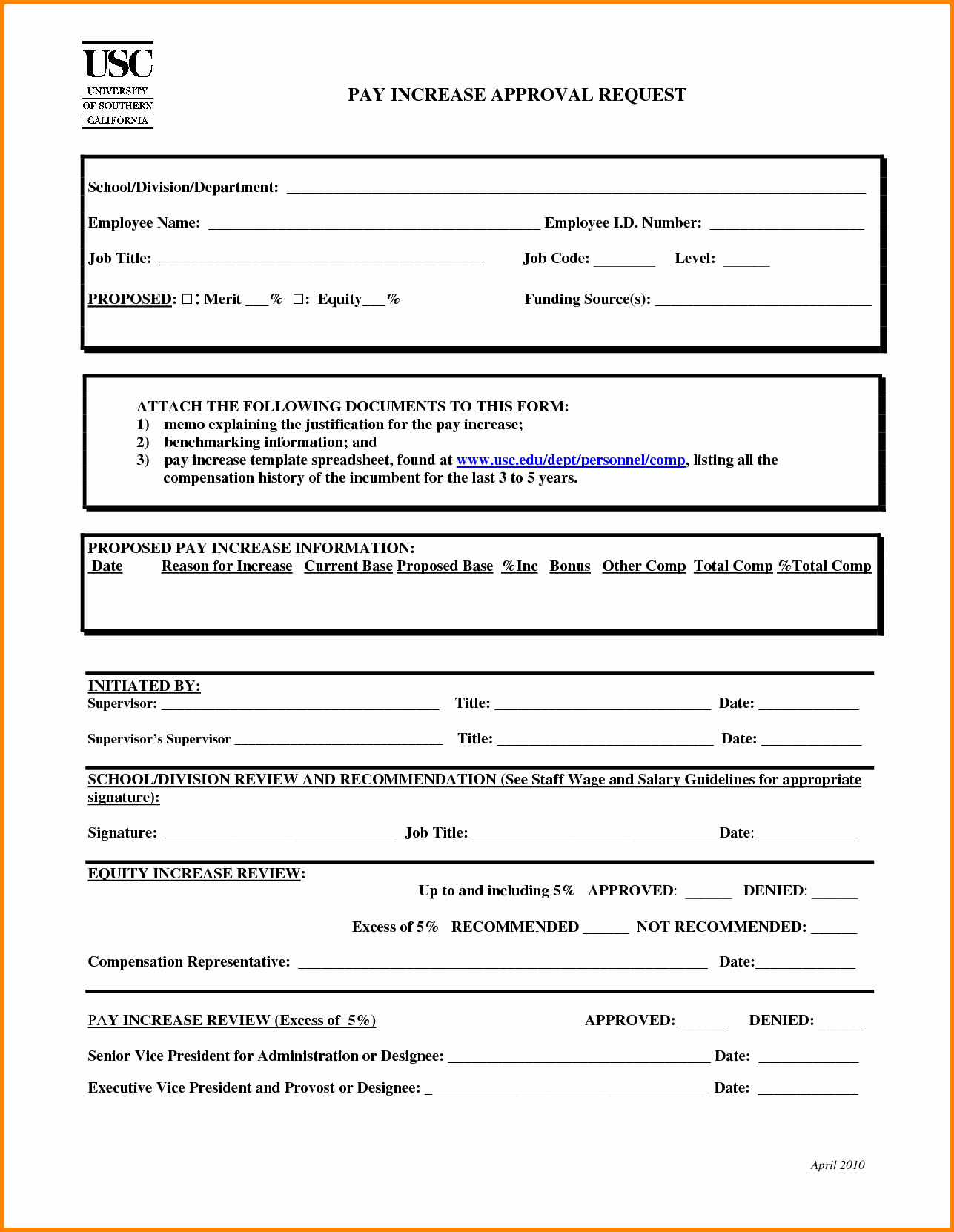 Employee Raise form Awesome 6 Salary Re Mendation form