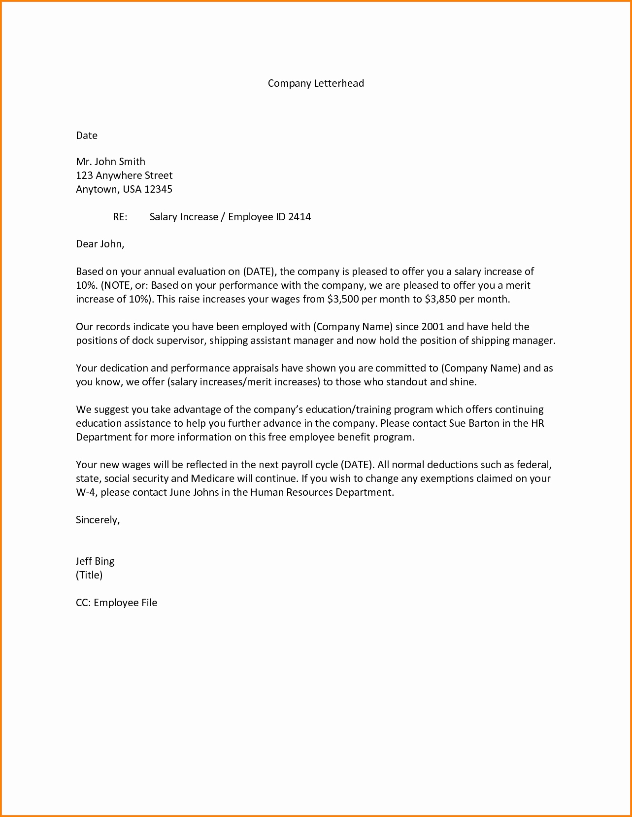 Employee Raise form Awesome 7 Salary Increase Letter to Employee Sample