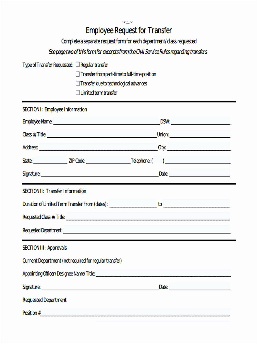 Employee Raise form Unique 7 Employee Transfer form Sample Free Sample Example