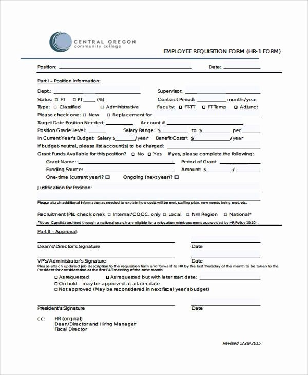 Employee Requisition form Awesome 29 Hr form Templates