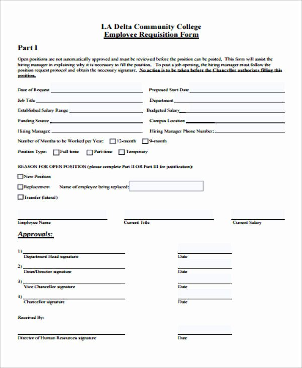 Employee Requisition form Inspirational 40 Sample Requisition form In Pdf
