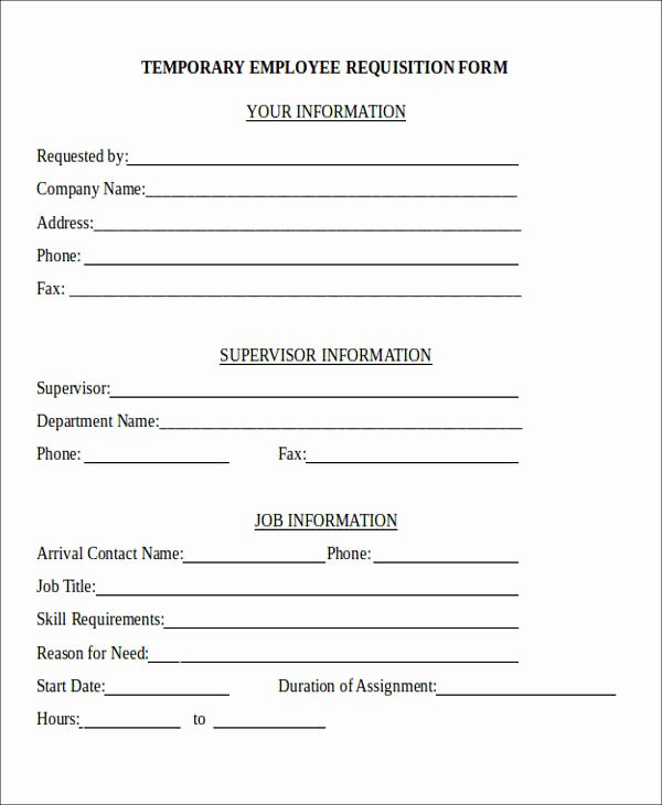 Employee Requisition form New 22 Requisition forms In Doc