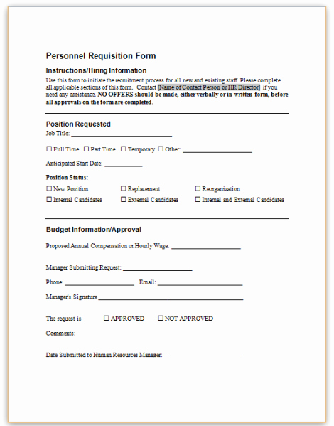 Employee Requisition form Sample Beautiful This Sample form Requests that A New Position Be Created