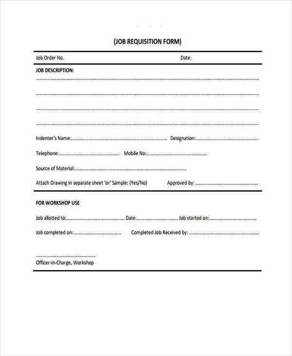 Employee Requisition form Sample Elegant Sample Requisition forms