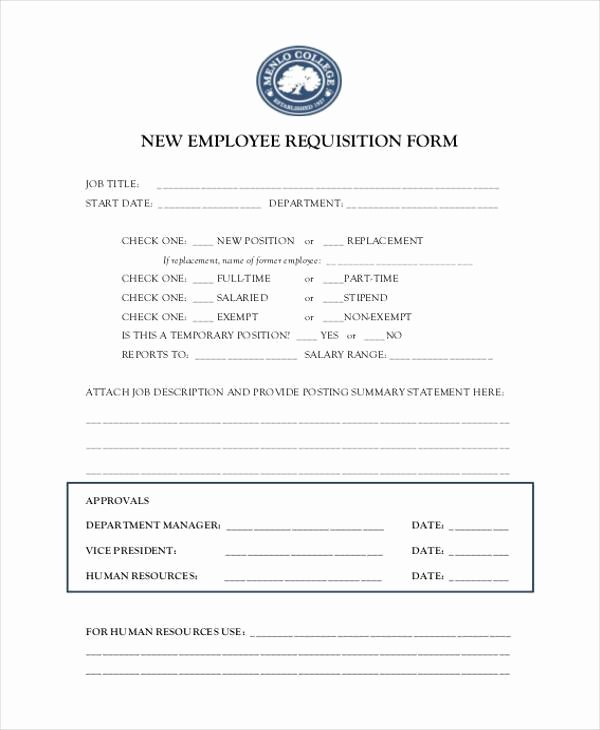 Employee Requisition form Sample Inspirational Sample Employment Requisition forms 7 Free Documents In