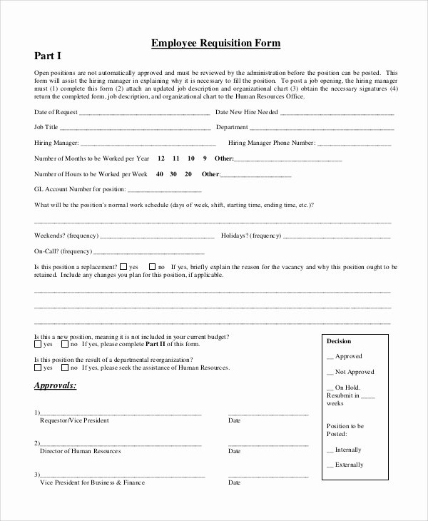 Employee Requisition form Sample Lovely Requisition form Samples Examples Templates 10