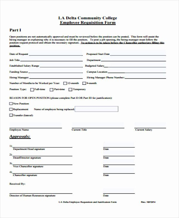 Employee Requisition form Sample Luxury 43 Free Requisition forms