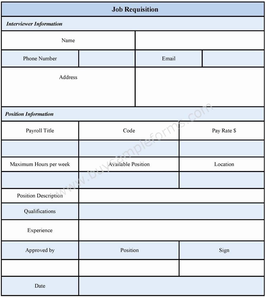 Employee Requisition form Sample New Job Requisition form