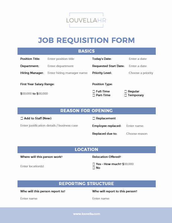 Employee Requisition form Template Awesome form Job Requisition form Louvellahr Member Site