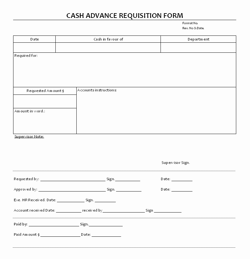 Employee Requisition form Template Inspirational Cash Advance Requisition Documents