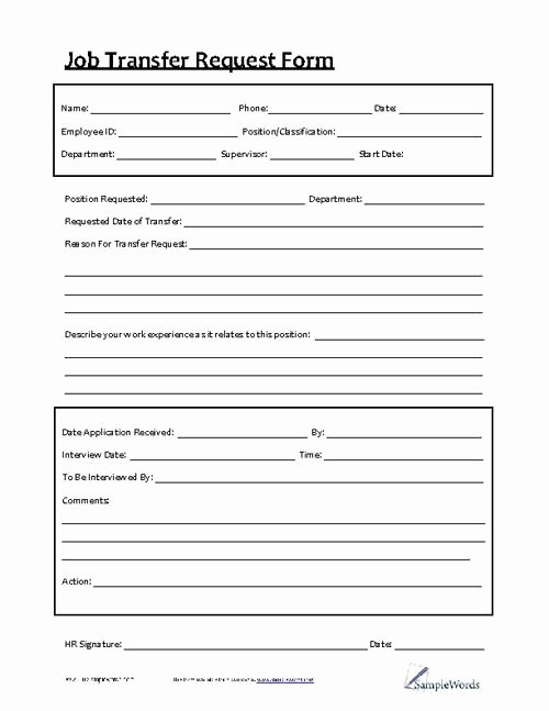 Employee Requisition form Template Inspirational Job Transfer Request form Business forms