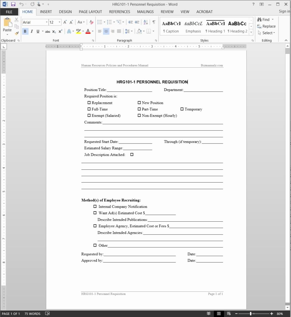 Employee Requisition form Template Inspirational Personnel Requisition Template