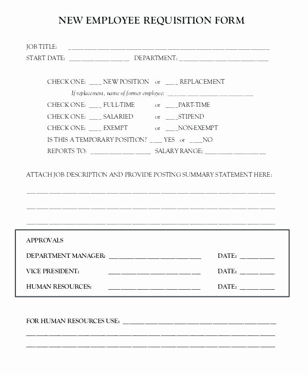 Employee Requisition form Template Lovely Position Requisition form Template Alfonsovacca