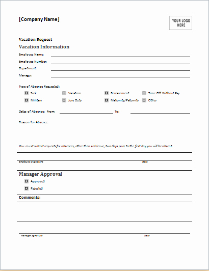 Employee Requisition form Template Luxury Employee Vacation Request form for Ms Word