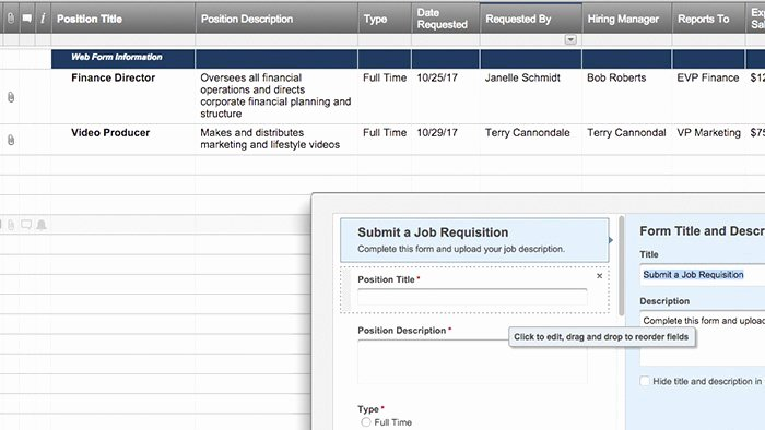 Employee Requisition form Template Luxury Smartsheet