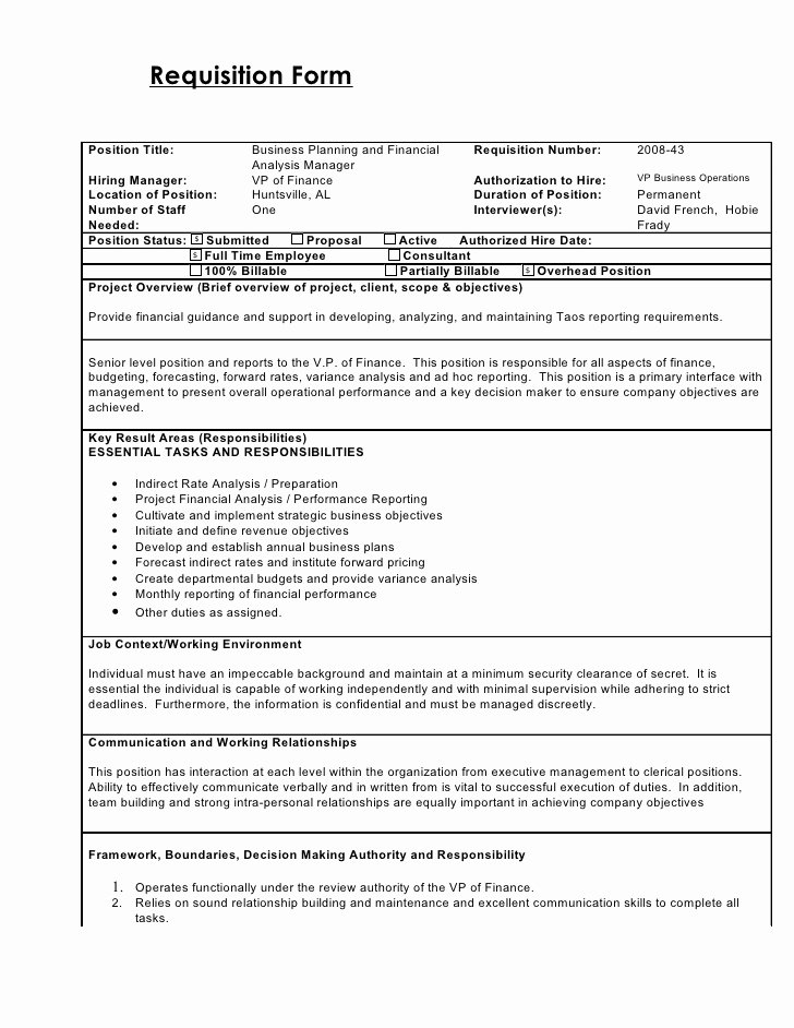 Employee Requisition forms Awesome Requisition form