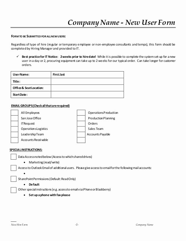 Employee Requisition forms Best Of New Hire It Request form