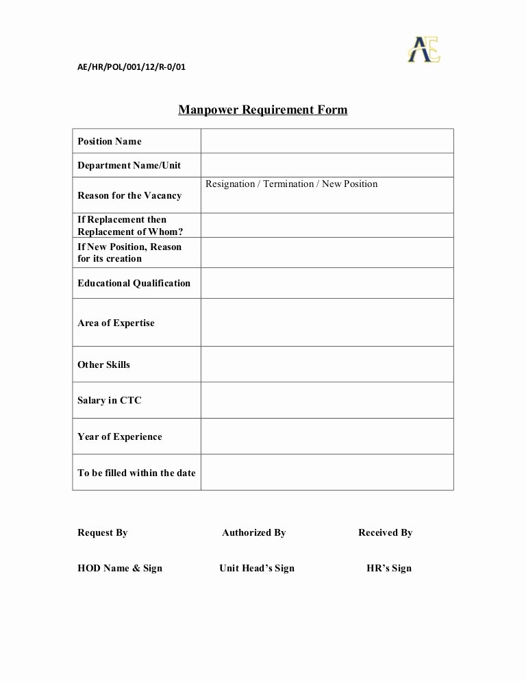 Employee Requisition forms Elegant Manpower Requisition form