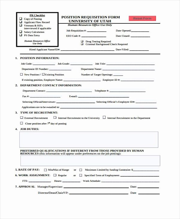 Employee Requisition forms Fresh Sample Hr forms