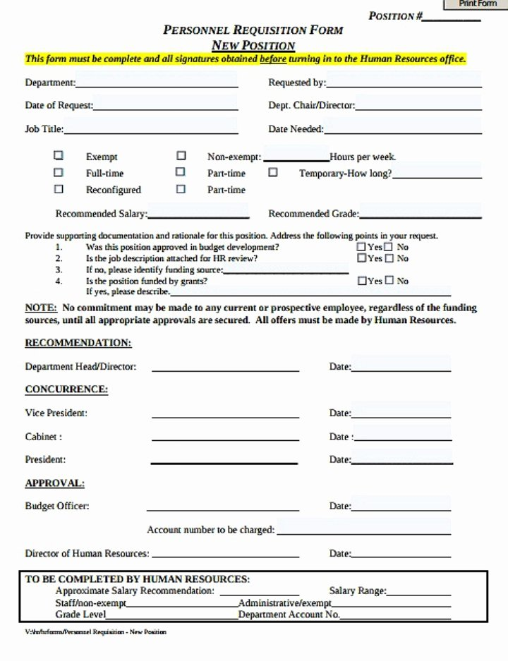 Employee Requisition forms Inspirational 8 Personnel Requisition form Templates Pdf