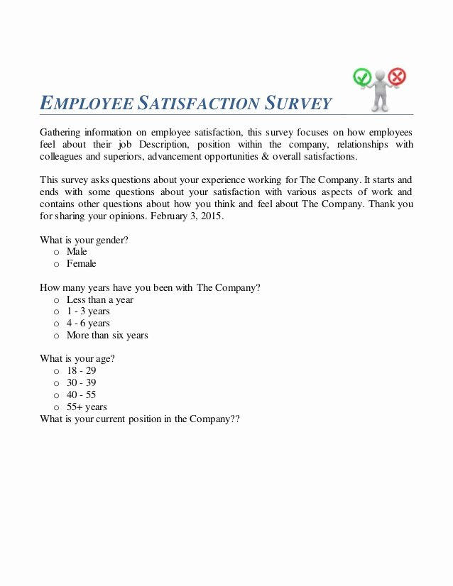 Employee Satisfaction Survey Questionnaire Doc Awesome Employee Satisfaction Survey Questionnaire