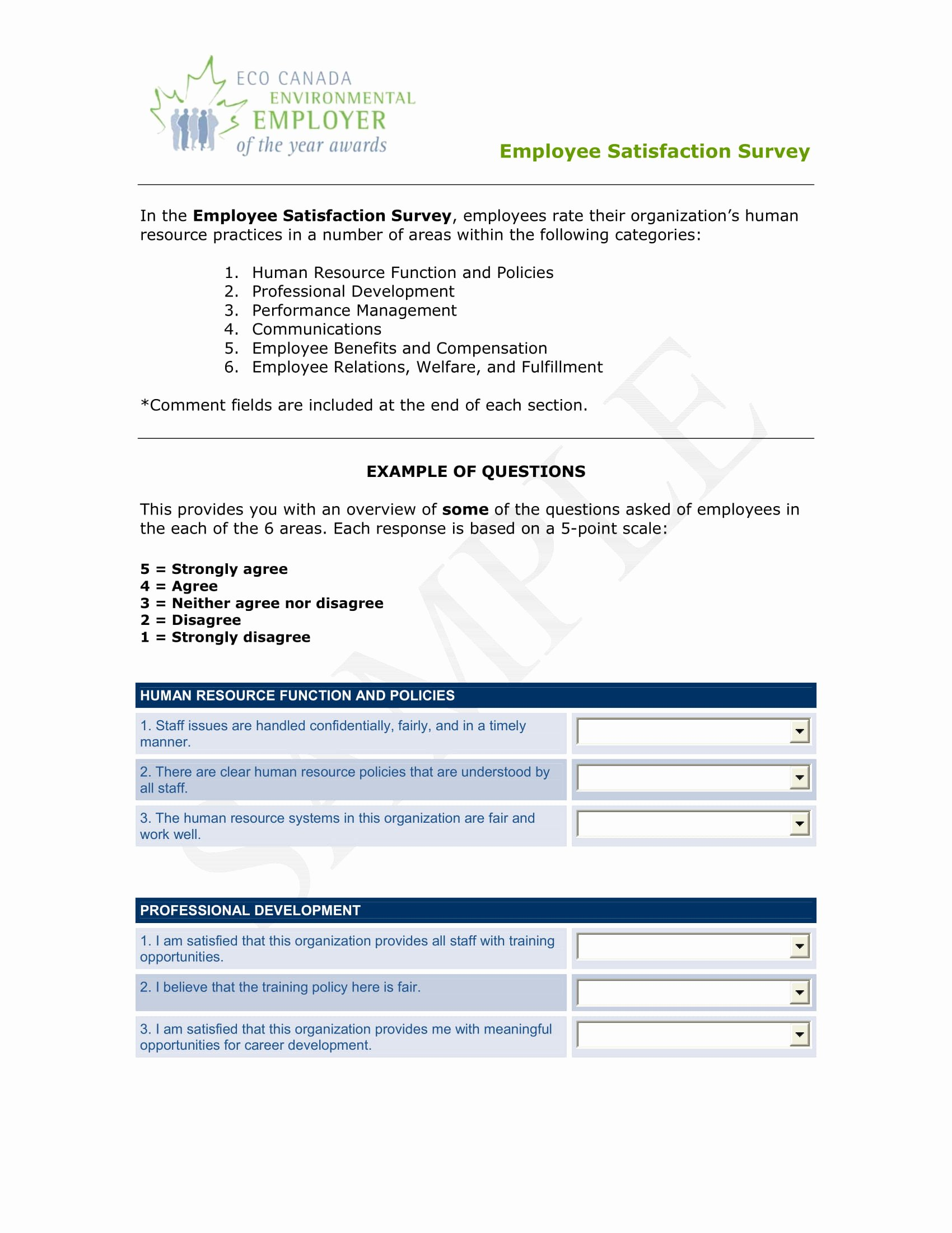 Employee Satisfaction Survey Questionnaire Doc Beautiful 14 Employee Satisfaction Survey form Examples Pdf Doc