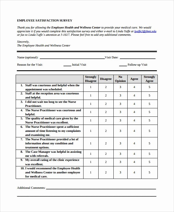 Employee Satisfaction Survey Questionnaire Doc Elegant 10 Survey form Templates