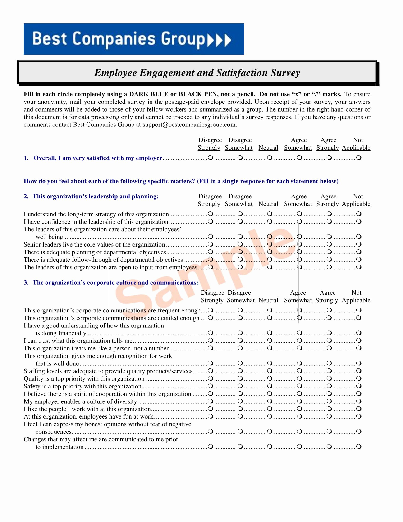 Employee Satisfaction Survey Questionnaire Doc Inspirational 14 Employee Satisfaction Survey form Examples Pdf Doc