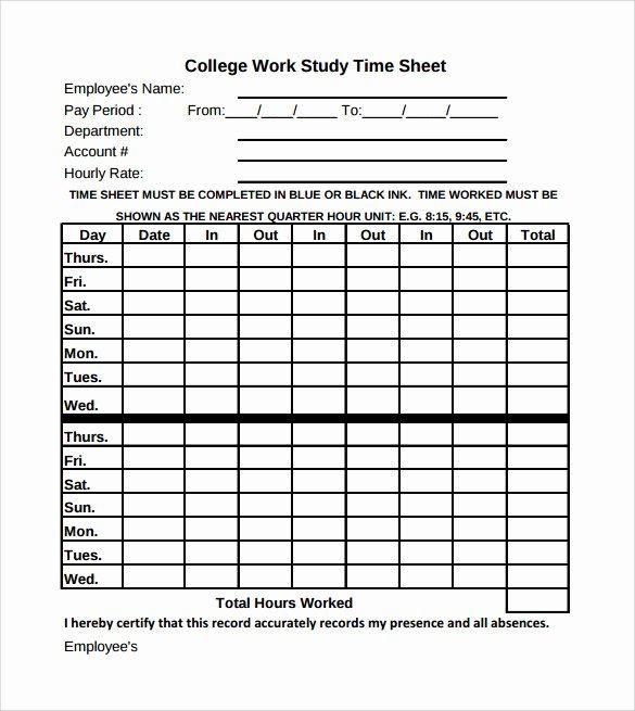 Employee Time Study Template Beautiful 11 Sample Work Timesheet Calculators