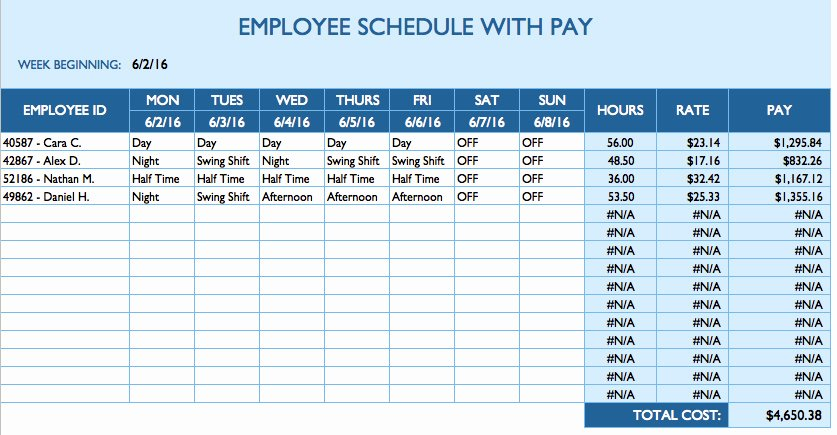 Employee Weekly Schedule Template Free Awesome Free Daily Schedule Templates for Excel Smartsheet
