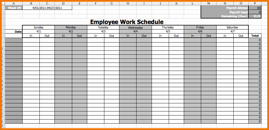 Employee Weekly Schedule Template Free Best Of Weekly Employee Work Schedule Free Template Driverlayer