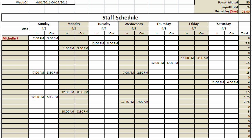 Employee Weekly Schedule Template Free Inspirational 6 Free Staff Schedule Template Ms Excel Schedule